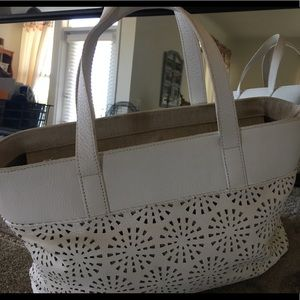 Purse, white leather open weave. Talbots